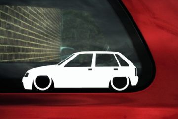 2x LOW 5 door Vauxhall Nova / Opel Corsa A (5 door) car Silhouette stickers, Decals